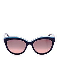 Солнцезащитные очки Salvatore Ferragamo в черной оправе с синей вставкой, фото