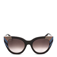 Солнцезащитные очки Salvatore Ferragamo в в черной оправе с синими и бежевыми вставками, фото