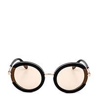 Солнцезащитные очки Salvatore Ferragamo в черной оправе с бежевыми линзами, фото