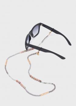 Цепочка для очков Sunny Cords Coco Grey с натуральными камнями, фото