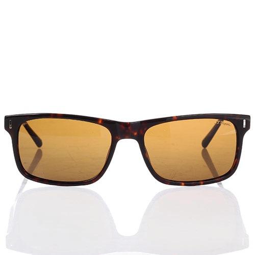 Солнцезащитные очки S.T. Dupont в леопардовой оправе с коричневыми линзами, фото