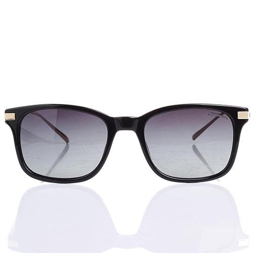 Солнцезащитные очки S.T. Dupont в черной оправе с серо-фиолетовыми линзами, фото