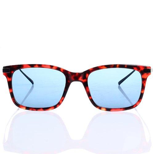 Солнцезащитные очки S.T. Dupont в красно-коричневой оправе с синими линзами, фото