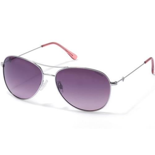 Очки-авиаторы Polaroid Suntastic с поляризационными фиолетовыми линзами в серебристой оправе, фото