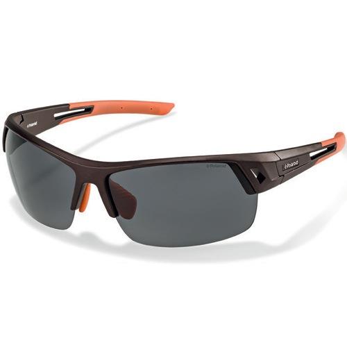 Очки Polaroid спортивные нескользящие легкие поляризационные оранжево-черные, фото