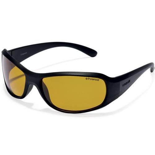 Очки Polaroid soft-touch спортивные черные с желтыми поляризационными линзами, фото