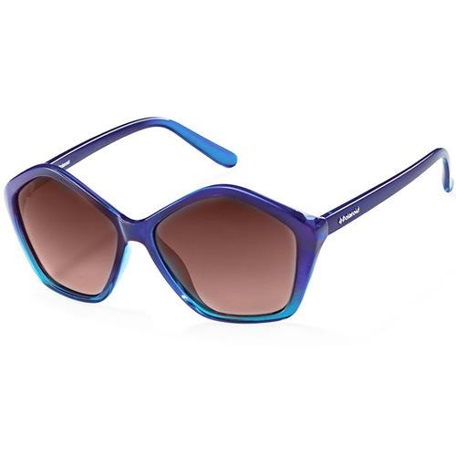 Очки Polaroid с поляризационными коричневыми линзами в синей оправе пятиугольной формы, фото