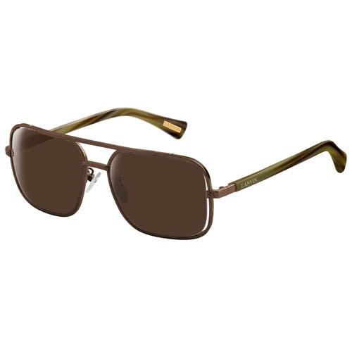 Очки Lanvin с коричневой оправой и линзами и с зелеными дужками, фото