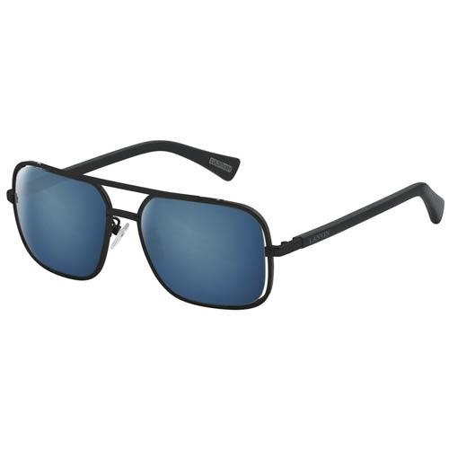 Очки Lanvin с тонкой металлической черной оправой и синими линзами, фото