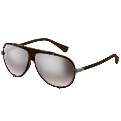 Очки Lanvin с коричневой оправой и металлической матовой окантовкой, фото