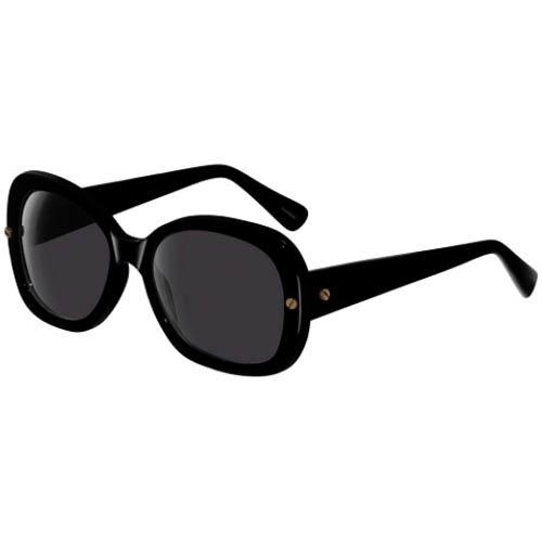 Очки Lanvin с толстой круглой черной оправой и золотистыми винтиками, фото