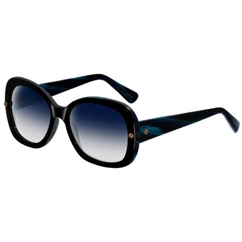 Очки Lanvin с толстой черной оправой с синими разводами, фото