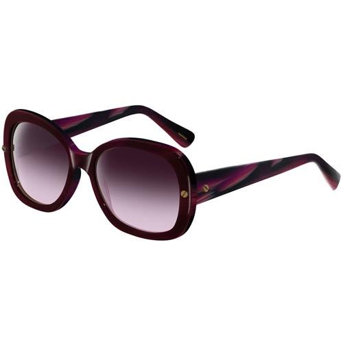 Очки Lanvin с толстой бордовой оправой с фиолетовыми разводами, фото