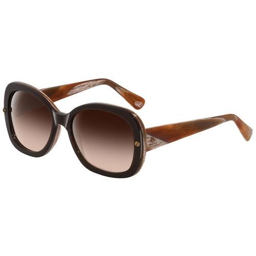 Очки Lanvin с толстой коричневой оправой с рыжими разводами, фото