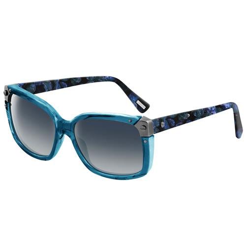 Очки Lanvin в голубой оправе с узорными дужками и металлическими вставками, фото