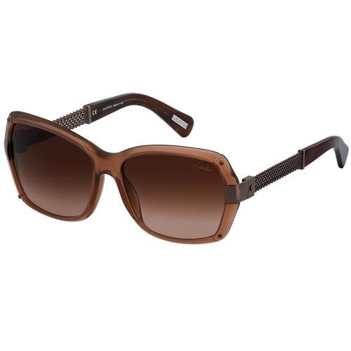 Очки Lanvin с прозрачной коричневой оправой с металлическими плетенными дужками, фото