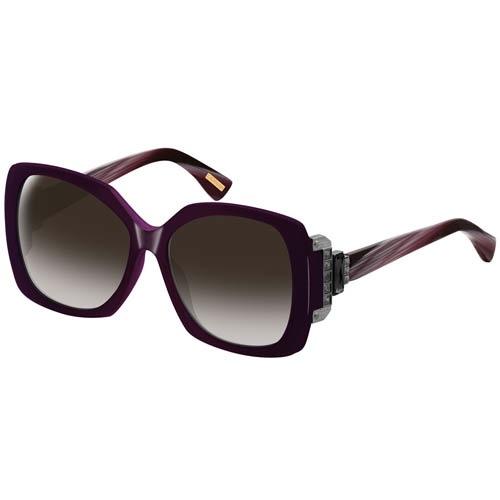 Очки Lanvin с фиолетовой оправой и широкой декоративной вставкой на дужках, фото