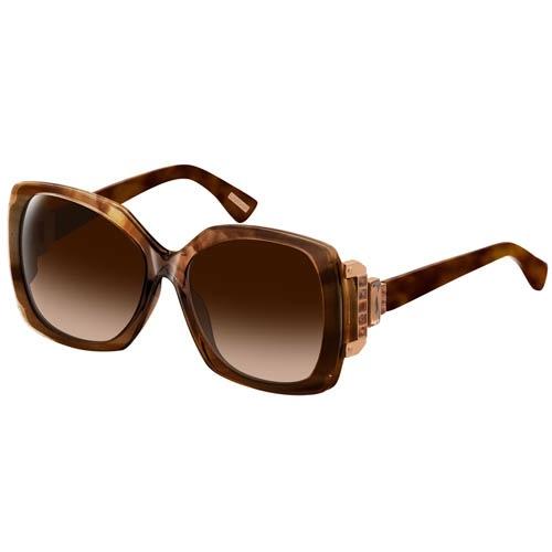 Очки Lanvin с коричневой узорной оправой и широкой декоративной вставкой на дужках, фото