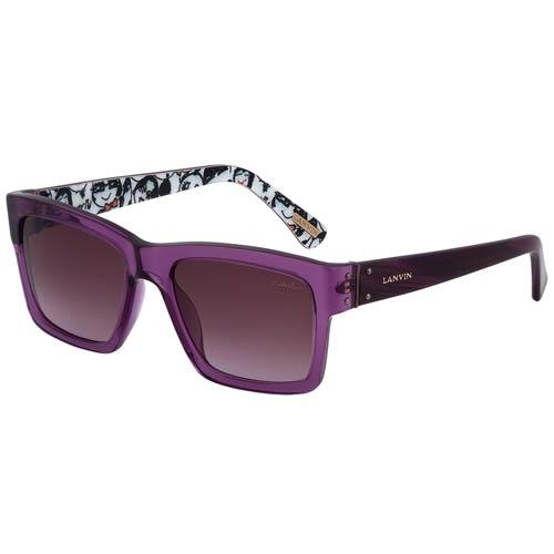 Очки Lanvin фиолетовые с узорами на внутренней стороне дужек, фото