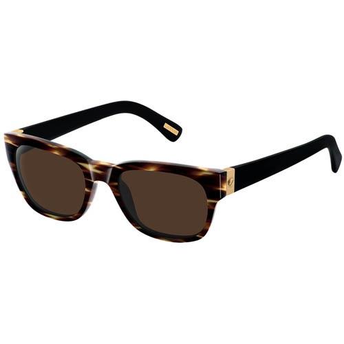 Очки вейфарерс Lanvin с коричневой полосатой оправой и золотистыми вставками на дужках, фото