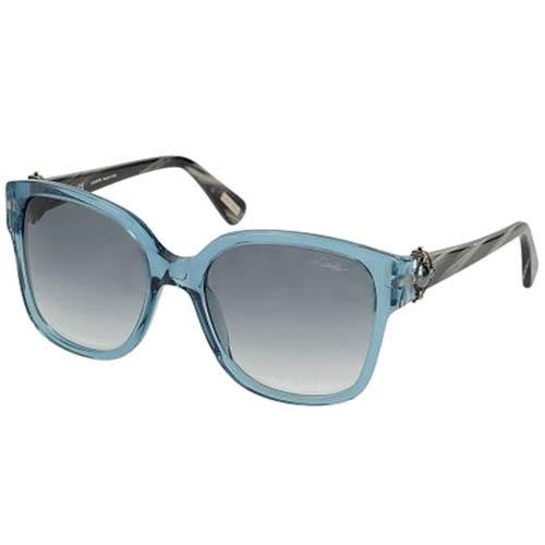 Очки Lanvin с прозрачной голубой оправой и темно-зелеными дужками, фото
