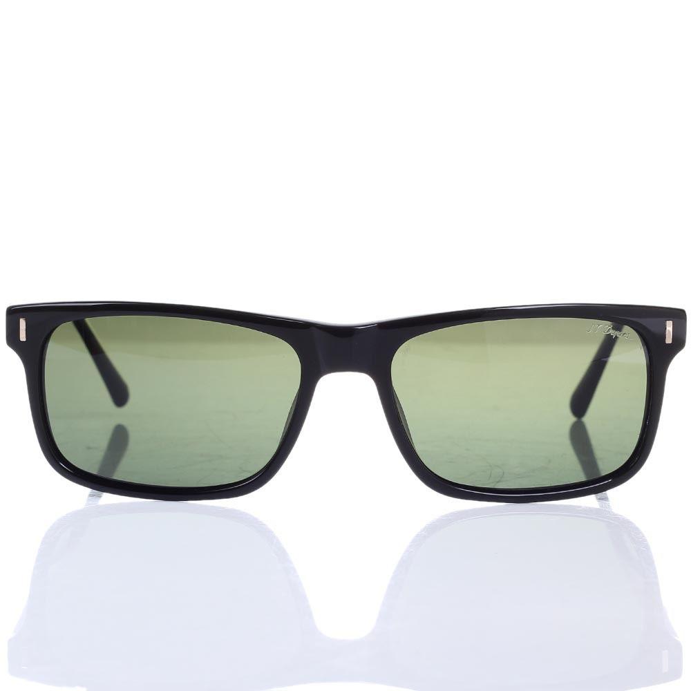 Солнцезащитные очки S.T. Dupont с темно-зелеными линзами