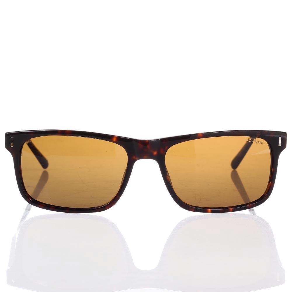 Солнцезащитные очки S.T. Dupont в леопардовой оправе с коричневыми линзами