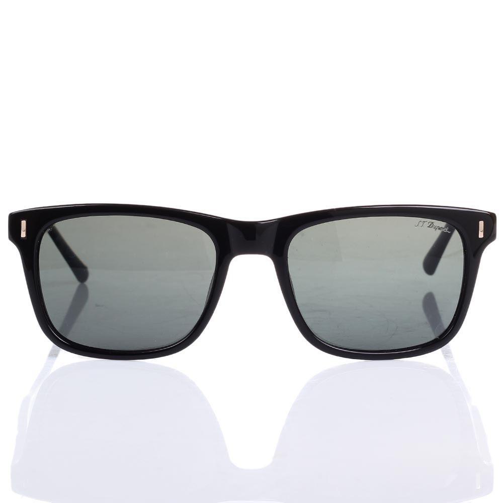 Солнцезащитные очки S.T. Dupont в черной оправе с черными линзами