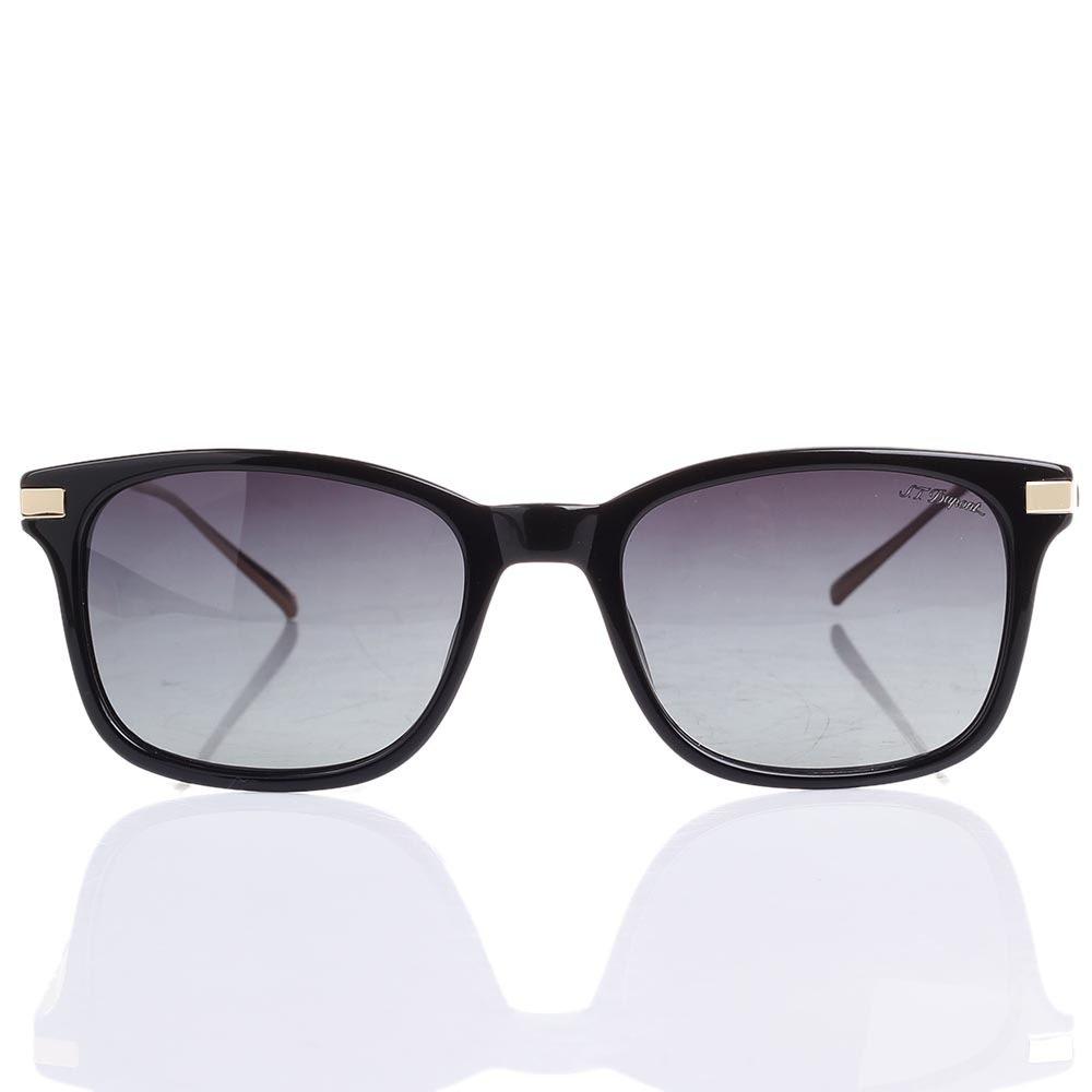 Солнцезащитные очки S.T. Dupont в черной оправе с серо-фиолетовыми линзами