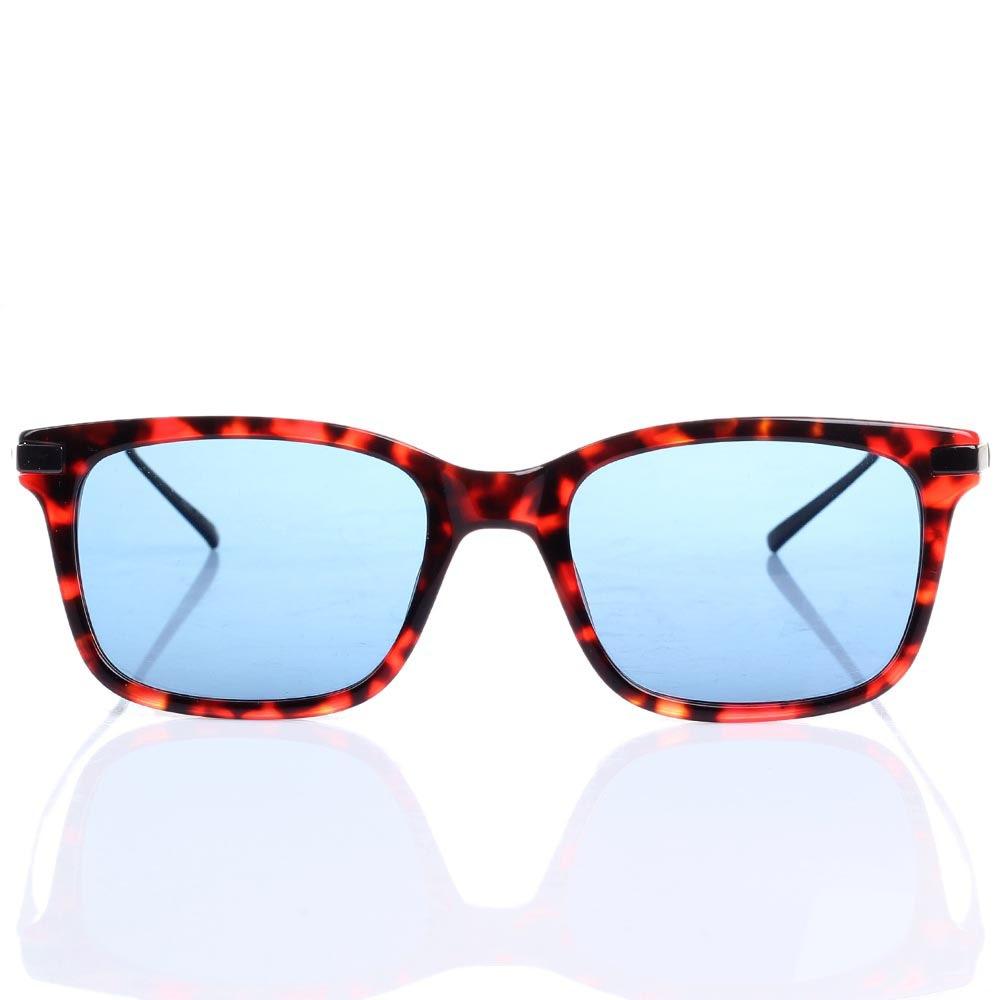 Солнцезащитные очки S.T. Dupont в красно-коричневой оправе с синими линзами