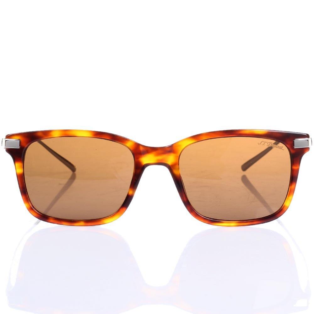 Солнцезащитные очки S.T. Dupont в леопардовой оправе со светло-коричневыми линзами
