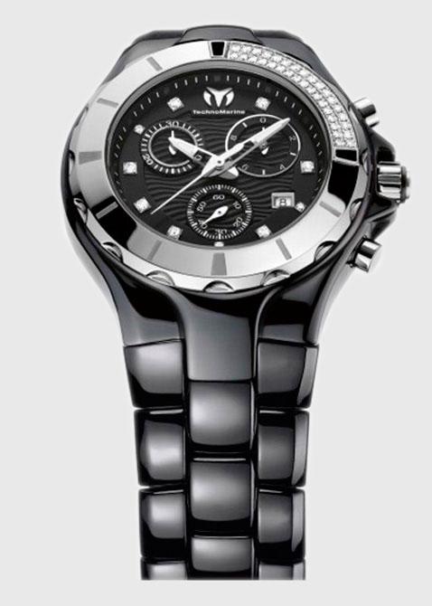 Часы TechnoMarine Cruise Ceramic 110029c хронограф с бриллиантами, фото