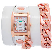 Часы La Mer Collections White Patent-Rose Gold Malibu Chain LMSCW4012, фото
