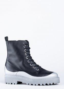 Ботинки N21 из кожи черного цвета, фото