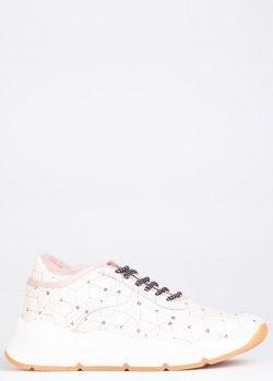 Зимние кроссовки Voile Blanche молочного цвета с принтом, фото