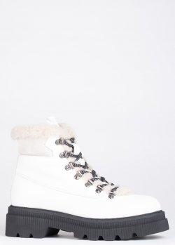 Низкие белые ботинки Voile Blanche Tweed на меху, фото