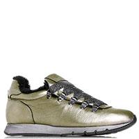 Кроссовки на меху Voile Blanche из мягкой кожи золотистого цвета, фото