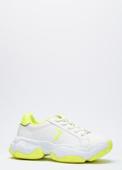 Белые кроссовки Trussardi с салатовыми вставками, фото