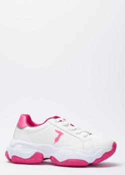 Белые кроссовки Trussardi с розовыми вставками, фото