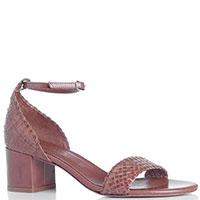 Коричневые босоножки Bianca Di из плетенной кожи, фото