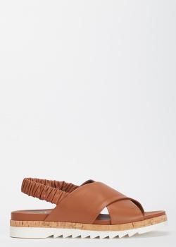 Коричневые сандалии Evaluna из гладкой кожи, фото