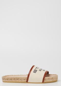 Бежевые шлепанцы Etro на плетенной подошве, фото
