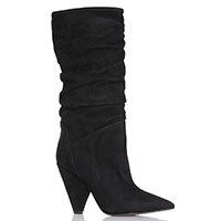 Черные замшевые сапоги Bianca Di с острым носочком, фото