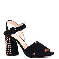 Черные босоножки Sfizio с декором на каблуке, фото