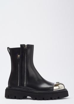 Черные ботинки Casadei Bikers на двух молниях, фото