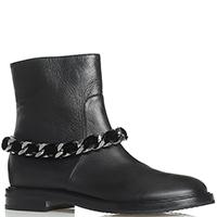 Ботинки Casadei черного цвета с декором-цепочкой, фото