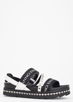 Черные сандалии Ermanno Scervino на толстой подошве, фото