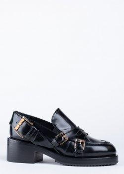 Туфли N21 черного цвета с пряжками, фото