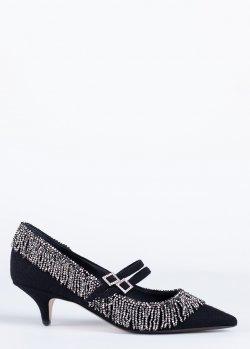 Туфли N21 в черном цвете с ремешками, фото