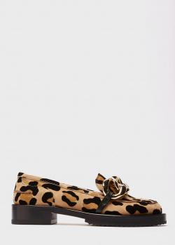 Леопардовые лоферы N21 с массивной цепью, фото